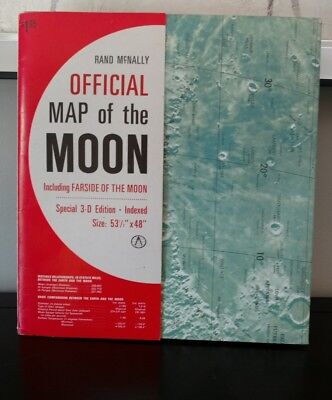 Rand McNally Official Map of the Moon  3-D Edition extremely rare find