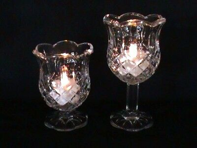 """2 - Home Interiors Homco Clear Crystal Stemmed Candle Holder Cups - 5 1/2"""" & 4"""""""
