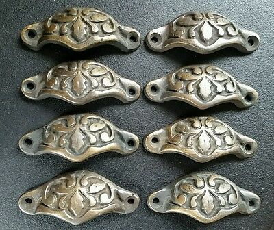 "8 Antique Vict Style Apothecary Cabinet Pull Handles 2 7/8"" Brass Oak Leaf #A3"