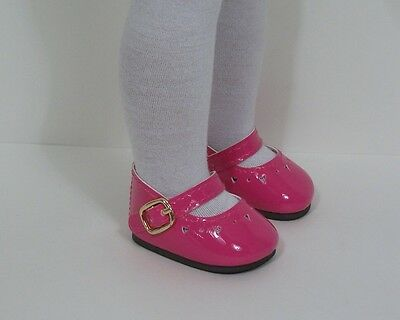 DK PINK Patent Heart Doll Shoes For 14 American Girl Wellie Wisher Wishers (Debs