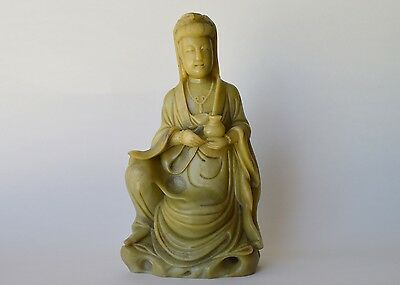 Vintage Chinese Carved Soapstone Guanyin Statue