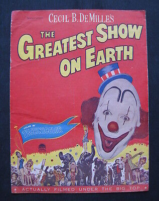 GREATEST SHOW ON EARTH 1952 Original movie programme Betty Hutton Lamour circus