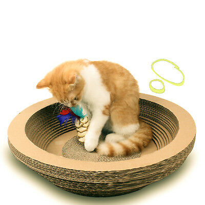 Cat Scratcher Bed Bowl Shaped Kitty Corrugated Paper Scratching Cardboard US