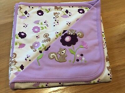 NWD Gymboree Baby Infant Girl Squirrel and flowers Blanket *purple stain*