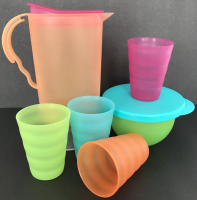 Tupperware Kids Mini Impressions Tea Party Set Pitcher~Bowl~4 Cups Pastels New