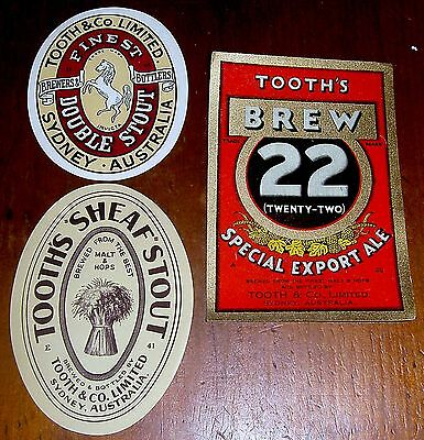 3 x BOTTLE LABELS, LOVELY CONDITION, VERY EARLY AUSTRALIAN BREWERY ITEMS, 1920s,