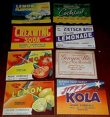 Mixed Lot Of Old Australian Soda Bottle Labels