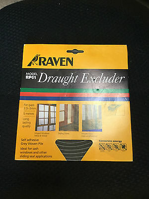 RAVEN 5M Draught Excluder Pile Weather Strip Grey RP61 For 2.5-5mm