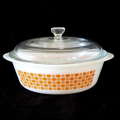 Glasbake USA 1.5 litre Casserole with Dome Lid & Orange Dot Square Motif c.1960s