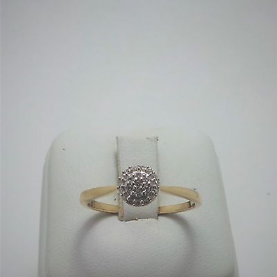 10ct YELLOW GOLD DIAMOND CLUSTER RING - RING SIZE O