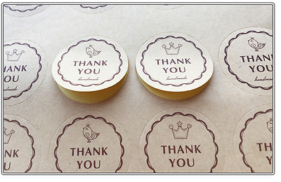 "24X Kraft ""THANK YOU"" Sticker/ Label/ Cookies Bag Sealer/ Party Gift Decoration"