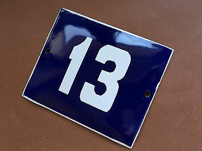 ANTIQUE VINTAGE ENAMEL SIGN HOUSE NUMBER 13 BLUE DOOR GATE STREET SIGN 1950's