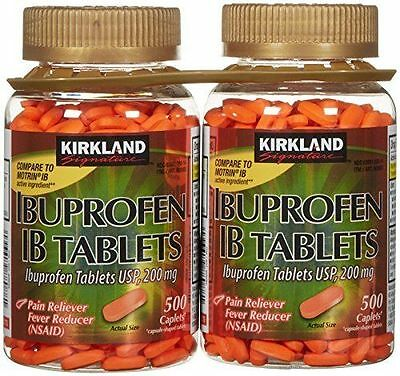 Kirkland Ibuprofen 200 mg IB Tablets, 1000 Caplets, Brand New Sealed.Exp 08/2020
