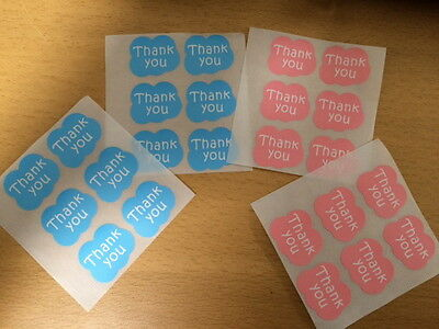 "24X Cloud ""THANK YOU"" Pink + Blue Sticker/ Label/ Cookies Bag Sealer/ Gift Decor"