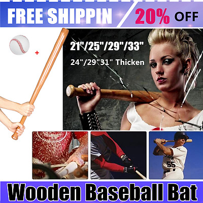21/24/25/29/31/33 inch Baseball Wooden Baseball Bat Stick With Rubber Outdoor PY