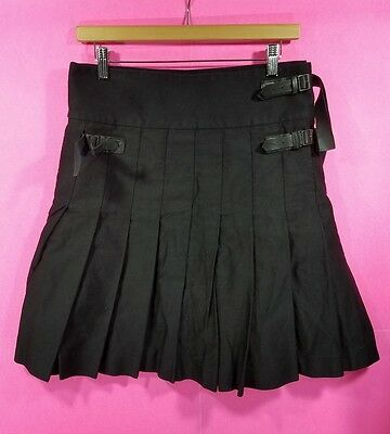 Givenchy Men's Black Wrap Around Cotton Pleated Kilt Skirt Leather Straps Sz 40