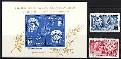 Romania 1963 First Woman in Space Vostock 5 and 6 Stamps and minisheet MNH