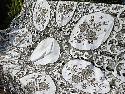 Antique Madeira Tablecloth RARE French Embroidered Cutwork Handmade Linen
