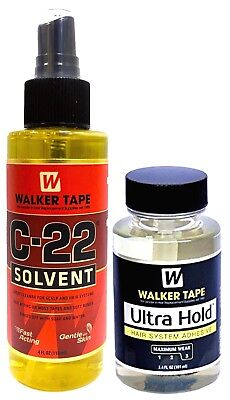 Walker Tape C-22 Solvent Remover 4 Oz + Ultra Hold Small Adhesive 3.4 Oz / 101ml