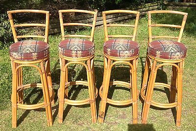 """Bar/kitchen """"tiki"""" Style Stools X 4 Retro Style With Excellent Padded Seat Area"""