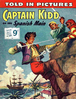 THRILLER PICTURE LIBRARY No.105 CAPTAIN KIDD  - Facsimile 68 page Comic