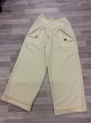 Vintage Cream High Waisted Trousers Sailor Pin Up Size 8