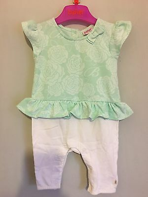 Beautiful Baby Girls Designer Ted Baker Floral  Mint Peplum Romper 0-3m🎀