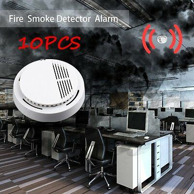 10PCS Fire Smoke Detector Alarm Tester Cordless Home Family Guard Security PY