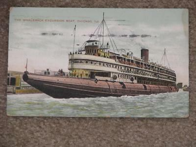 The Whaleback Excursion Boat, Chicago, Ill., 1909,  used vintage card