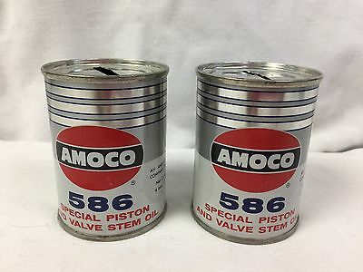 Vintage Set of two 2 Amoco 586 Oil Can Banks 1950's