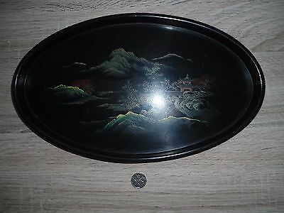 Oriental oval black laquer/wood tray