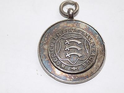 Vintage H/m Silver Fob Medal Wood Green Football League 1921-22