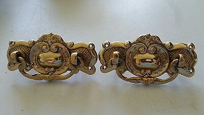 Pair nice heavy solid cast brass Victorian style drawer pulls  handles (462C)