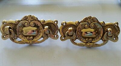 Pair nice heavy solid cast brass Victorian style drawer pulls  handles (462D)