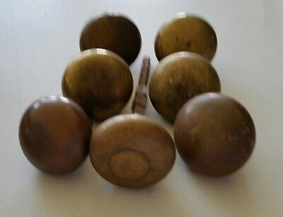 "7 Vintage Antique Old Solid Brass Door Knobs  2"" Round"