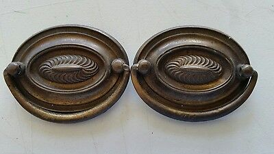 Pair nice oval vintage old solid brass drawer pulls  handles (463A )