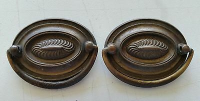 Pair nice oval vintage old solid brass drawer pulls  handles (463B)