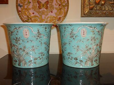 Antique Pair Of Chinese Famille Verte Dayazhai Planters Jardinieres Pot