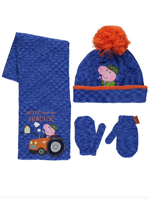 Boys Peppa Pig George Pig Hat Scarf & Mittens Set Age's 1-3 Years  4-6 Years NEW
