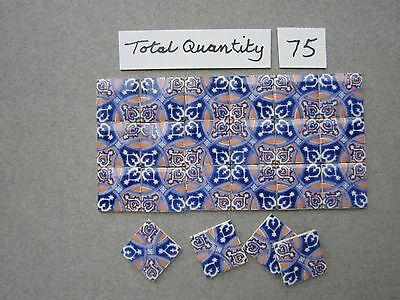 "TERRY CURRAN 252 dollshouse miniature ceramic TILES 1/2""sq. assortment."