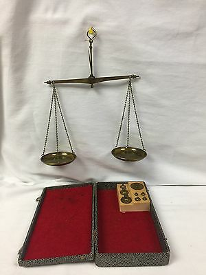 Vintage Complete Apothecary & Watchmaker Gold Scale W Germany w/Weights & Box