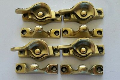 4 Matching Vintage Old Solid Brass  Window Locks Restored  (467A)
