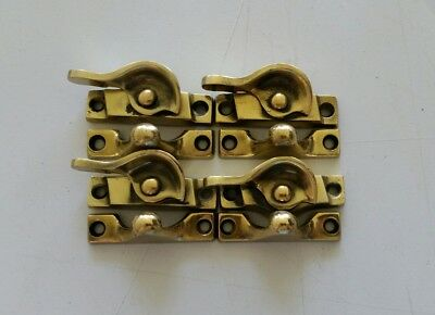 4 Matching Vintage Old Solid Brass  Window Locks Restored  (467B)