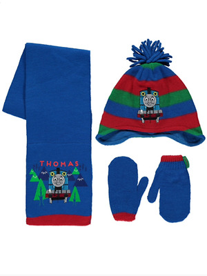 Boys Thomas the Tank Engine Hat Scarf & Mittens Set Age 1-3 Years  4-6 Years NEW