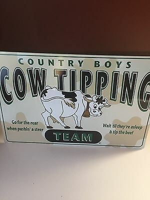 Cow Tipping Tin Sign