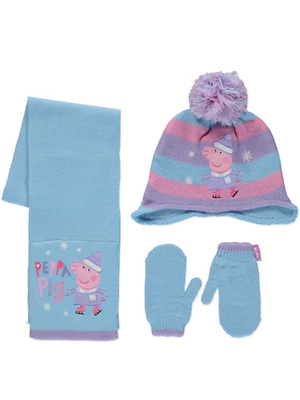 Girls Peppa Pig Hat Scarf & Mittens Set Age's 1-3 Years  4-6 Years NEW