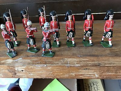 Britians Made In England Lead Toy Soldiers Marching With Kilts