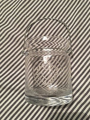 Glass Jar Candle Holder With Heart Pattern Detail And Handle New!