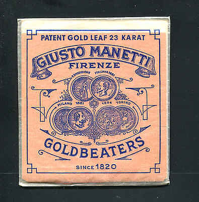 "Giusto Manetti Patent 23K Karat Gold Leaf 25 Leaves 3 3/8"" x 3 3/8"" Square"