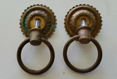 Pair Victorian  Antique Brass Backing Drawer Pulls Handles  W/ Steel Rings(475)